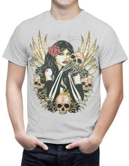 Girl with Skulls and Feather Wings Men's T-Shirt