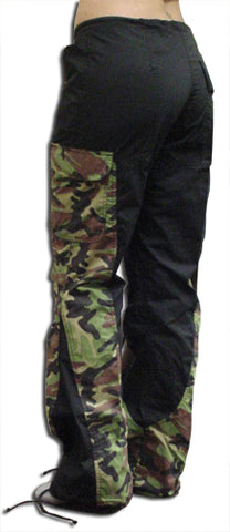 "Girls Hipster ""Elliptic"" UFO Pants (Black/Green Camo)"
