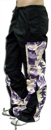 "Girls Hipster ""Elliptic"" UFO Pants (Black/Purple Camo)"