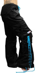 Girls Hipster Lace Up UFO Pants (Black / Turquoise)