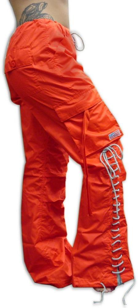 Girls Hipster Lace Up UFO Pants (Orange / Grey)