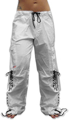 Girls Hipster Lace Up UFO Pants (White / Black)