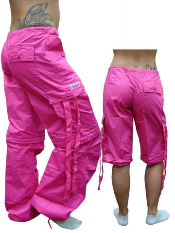 Girls Hipster UFO Pants with Zip Off Legs (Hot Pink)