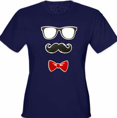 Glasses, Mustache, and Bow Tie Girl's T-Shirt