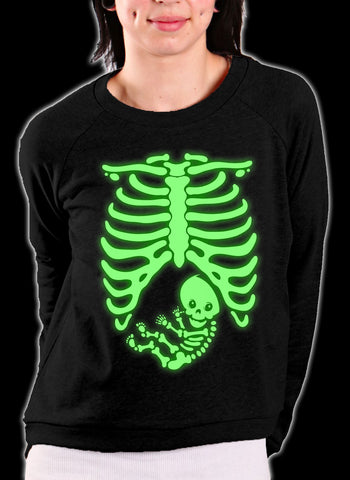 Glowing Pregnant Skeleton Crewneck Sweatshirt