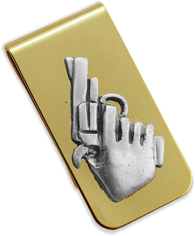 Gold Money Clip - Gun In Hand Money Clip