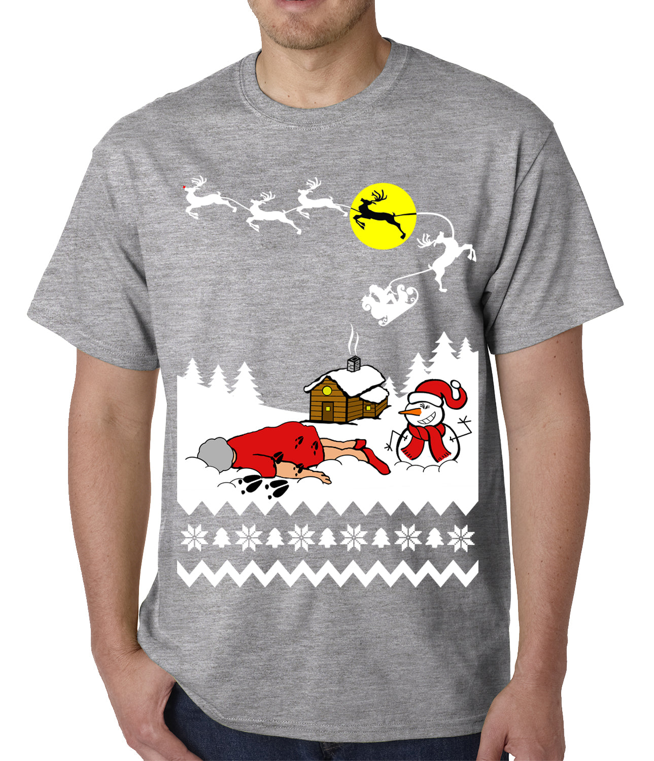 Grandma Got Run Over By A Reindeer - Ugly Christmas Mens T-shirt