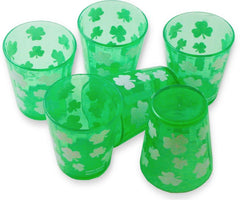 Green Irish Shamrock Shot Glasses (6 pack)