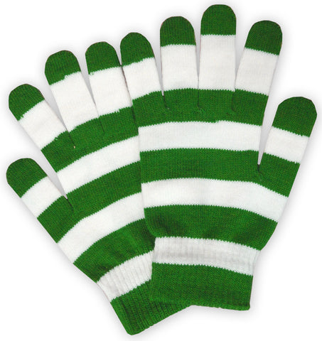 Green Striped Pair of Gloves
