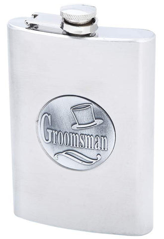 Groomsman Emblem 8oz Stainless Steel Flask