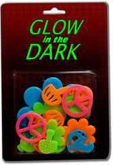 Groovy Sixties  Shape Glow in the Dark Wall Decorations (24 pack)