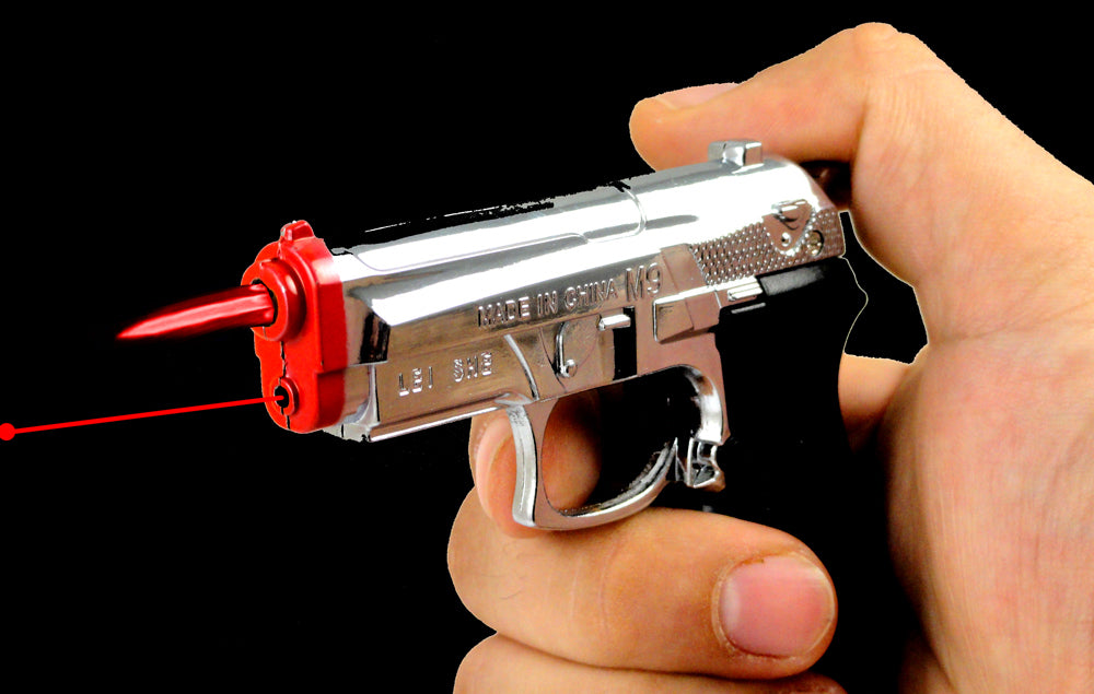 Gun Lighter With Laser Pointer and Red Flame