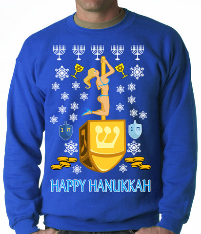 Happy Hanukkah Sexy Stripper on a Dreidel Ugly Crewneck Sweatshirt