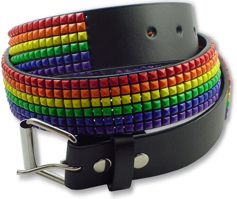 Happy  Rainbow  Leather Pyramid Belt