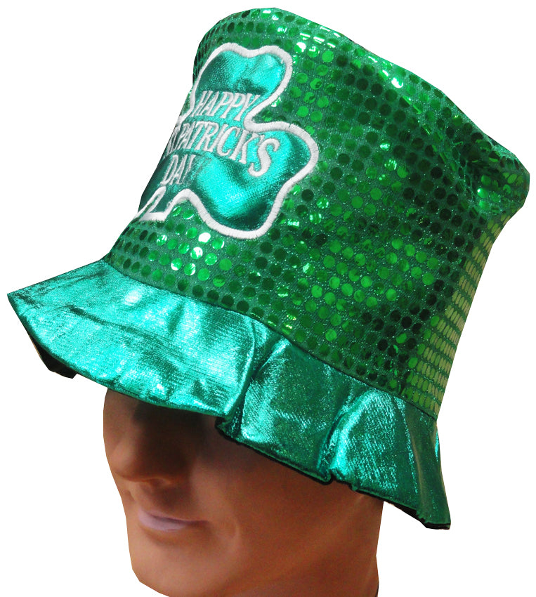 Happy St. Patrick's Day Sequin Top Hat