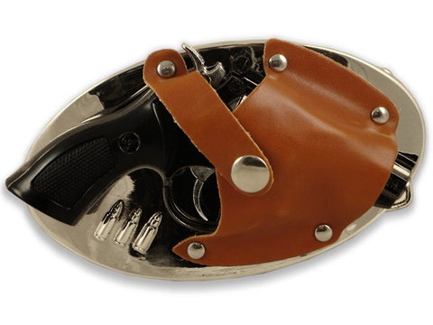 Holster With Magnum Revolver Gun Lighter Buckle And FREE Belt
