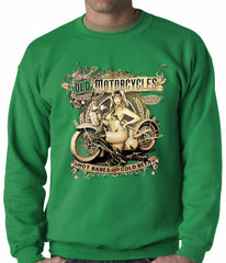 Hot Babes and Cold Beer Biker Adult Crewneck