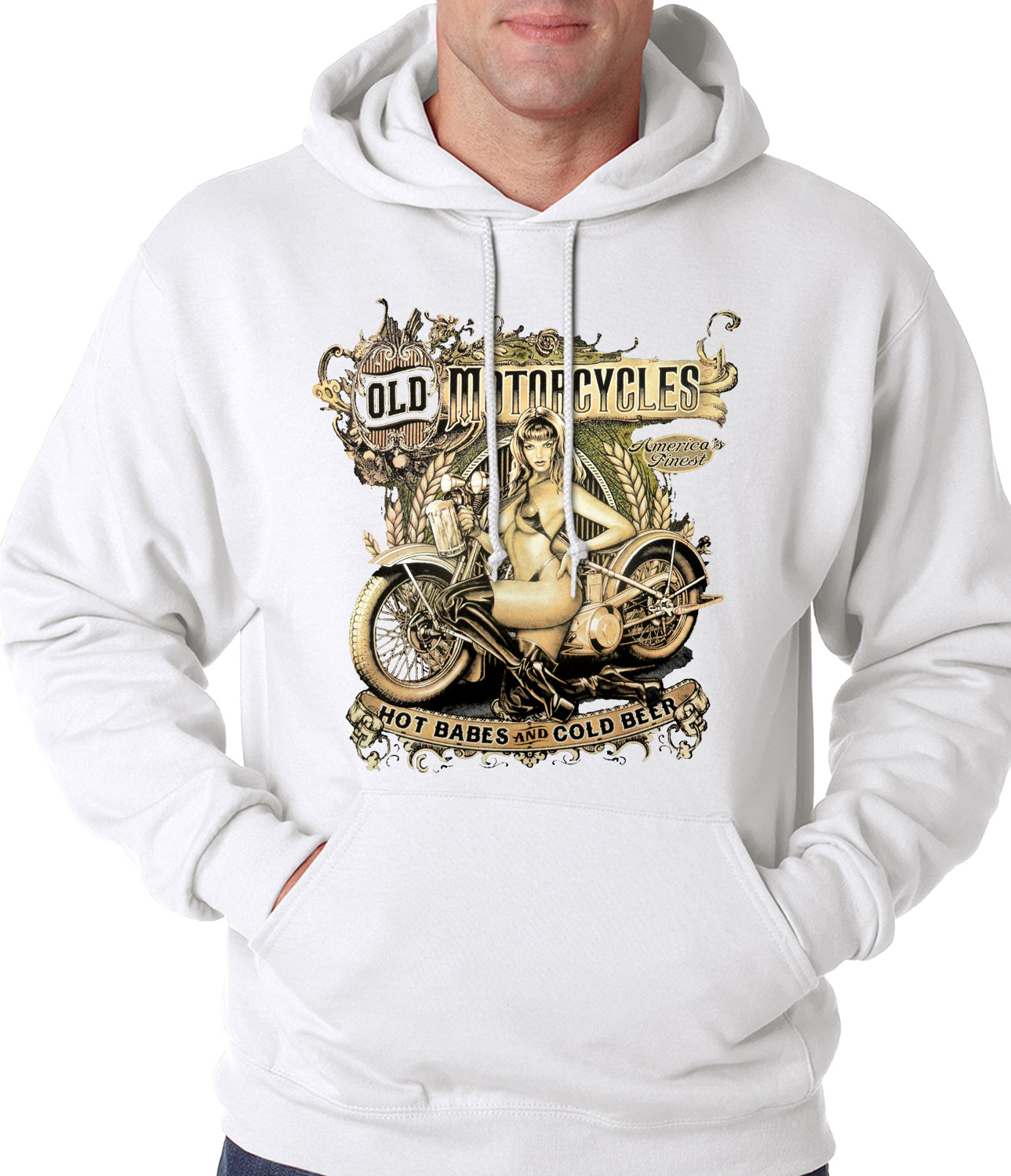 Hot Babes and Cold Beer Biker Adult Hoodie