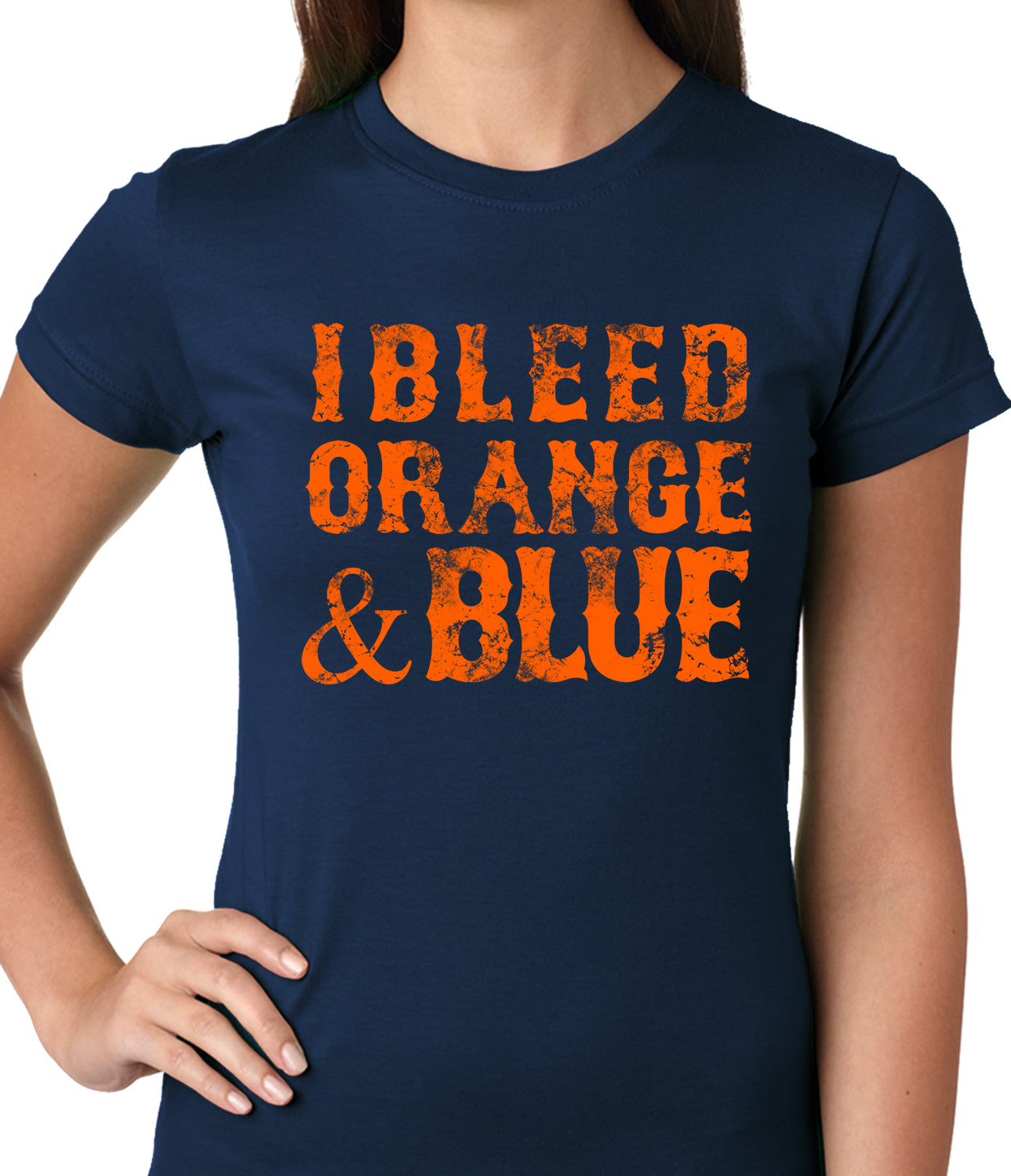 I Bleed Orange And Blue New York Baseball Ladies T-shirt