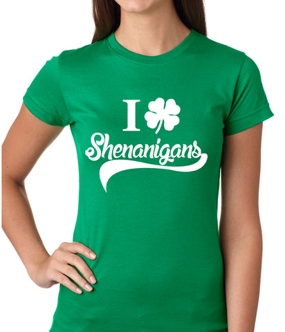 I Clover Shenanigans Funny St Patricks Day Girls T-shirt