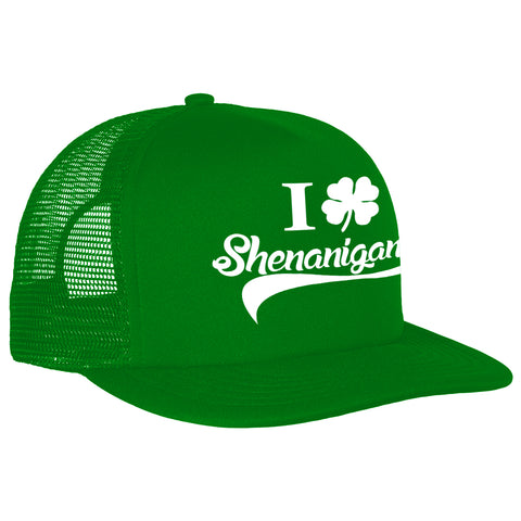 I Clover Shenanigans Funny St Patricks Day Trucker Hat (Kelly Green)