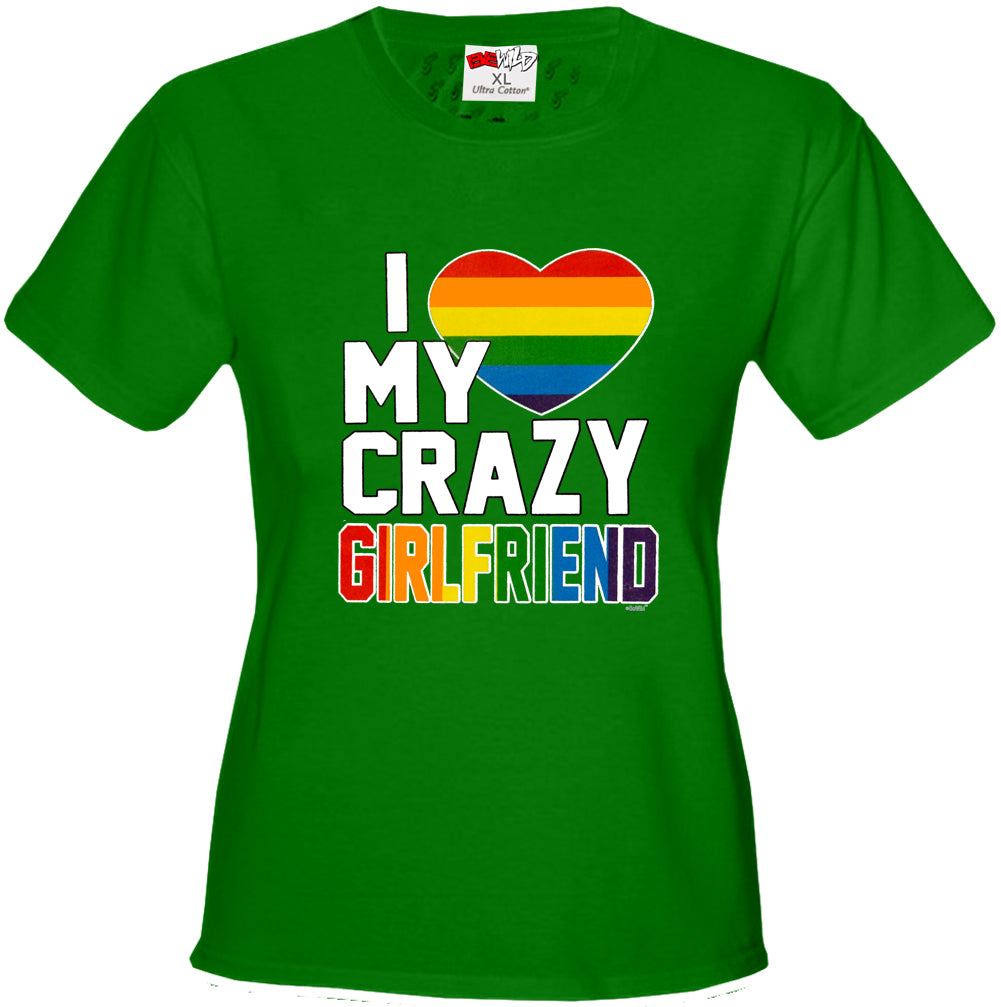 I Heart My Crazy Girlfriend Rainbow Pride Girl's T-Shirt
