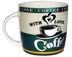 I Love Coffee 8 Ounce Ceramic Coffee Mug (Assorted Colors)