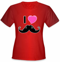 I Love Mustache Girl's T-Shirt