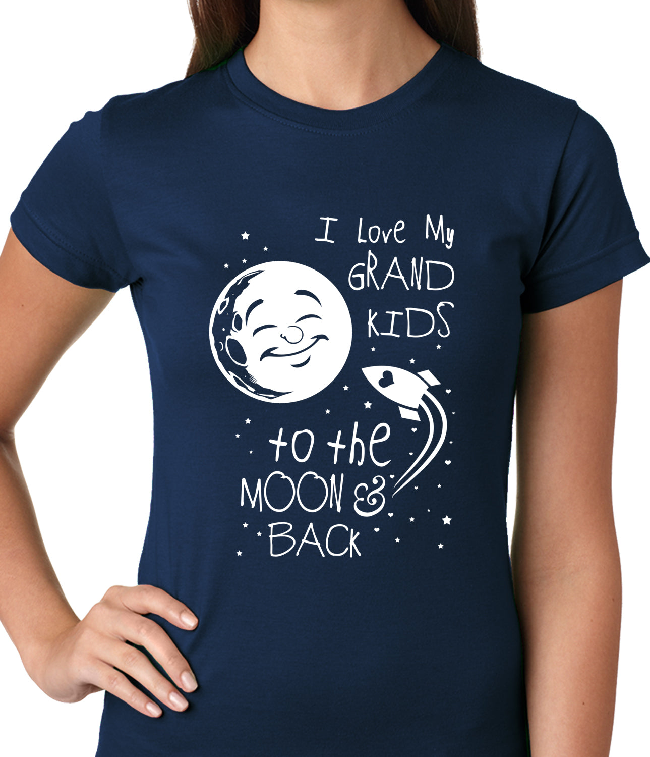 I Love My GrandKids to the Moon and Back Ladies T-shirt