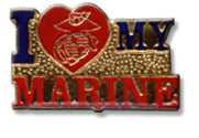 I Love My Marine Lapel Pin