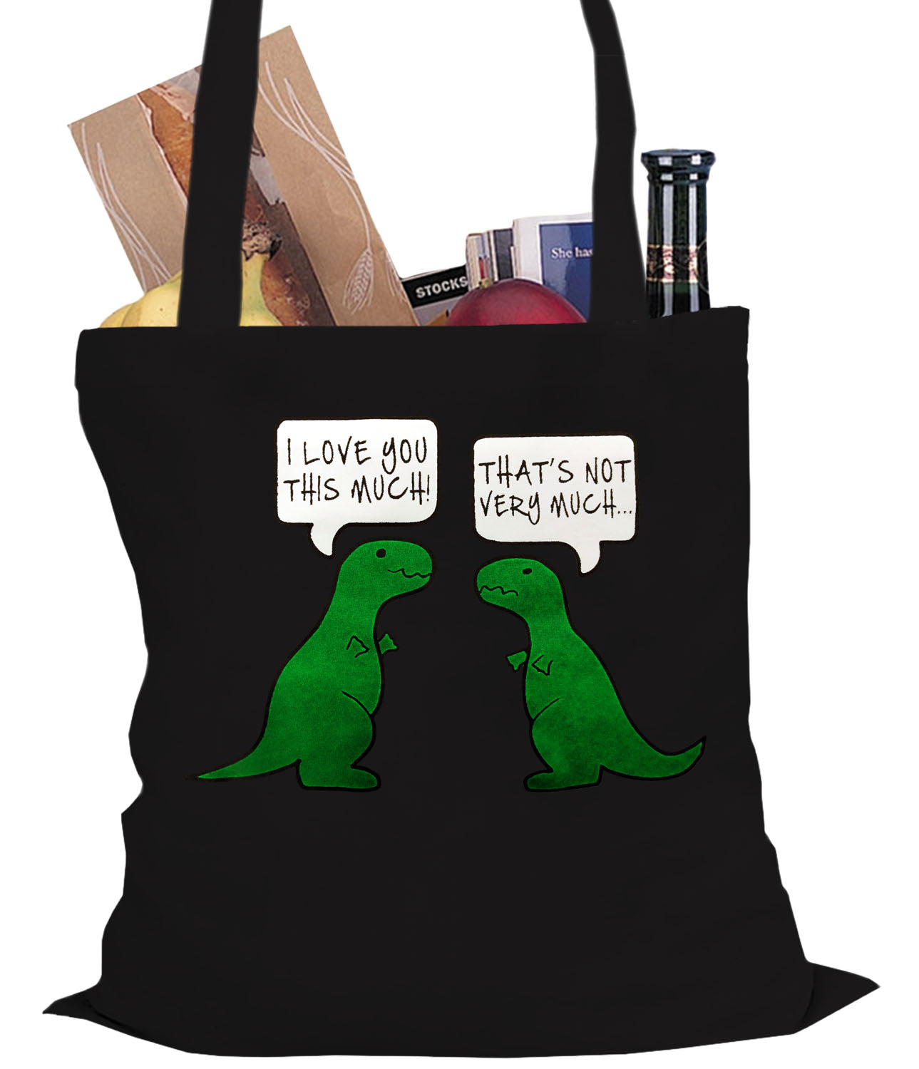 i love you this much funny t rex tote bag bewild