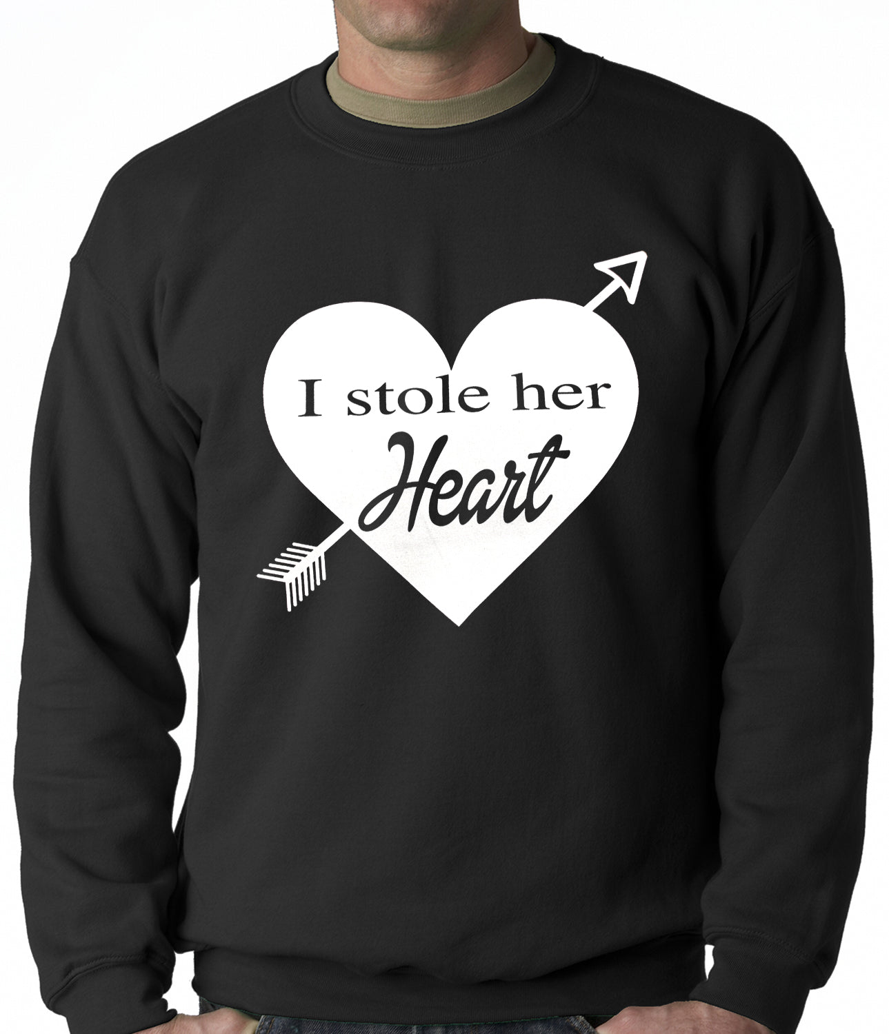 I Stole Her Heart Couples Adult Crewneck