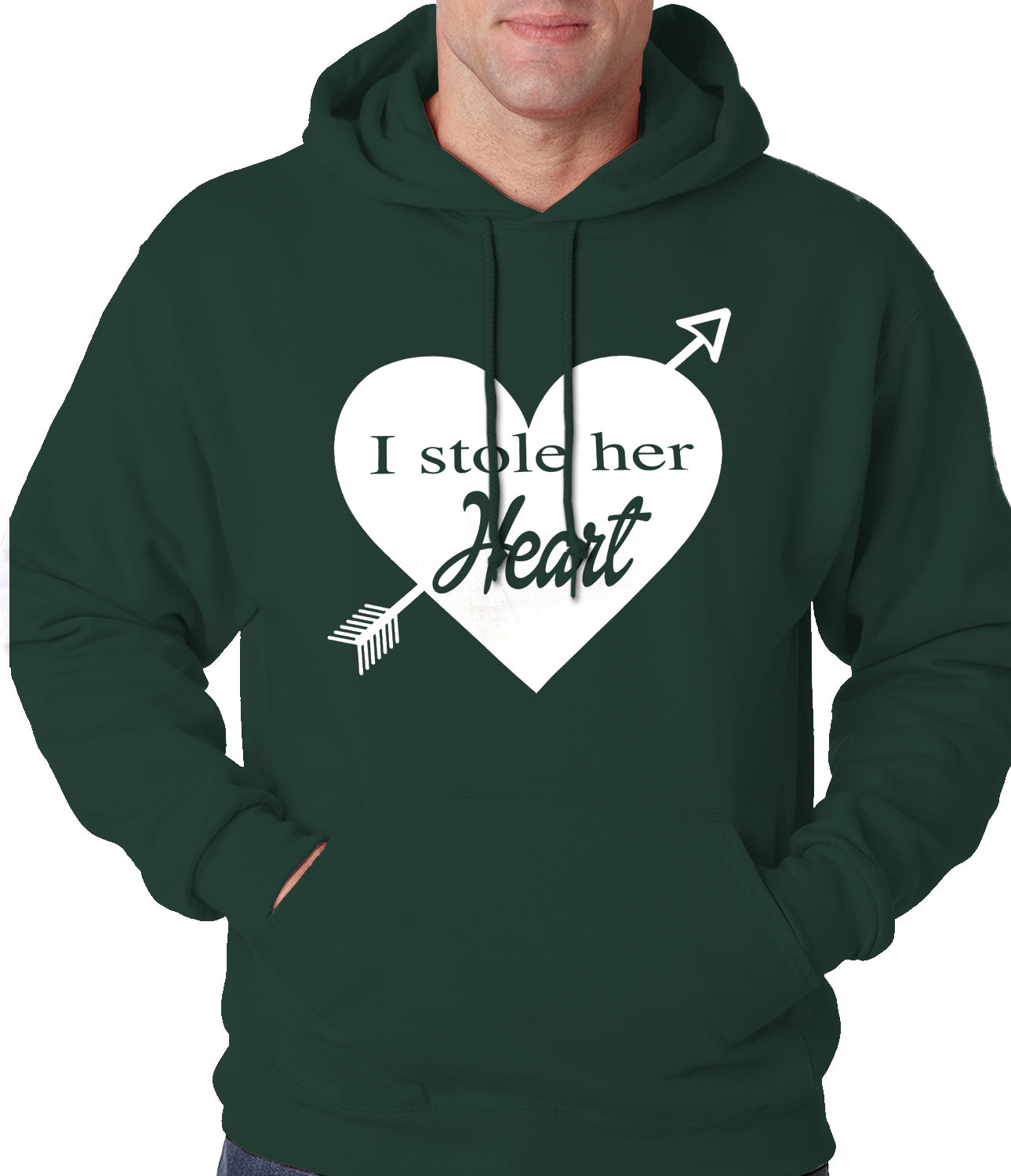 I Stole Her Heart Couples Adult Hoodie