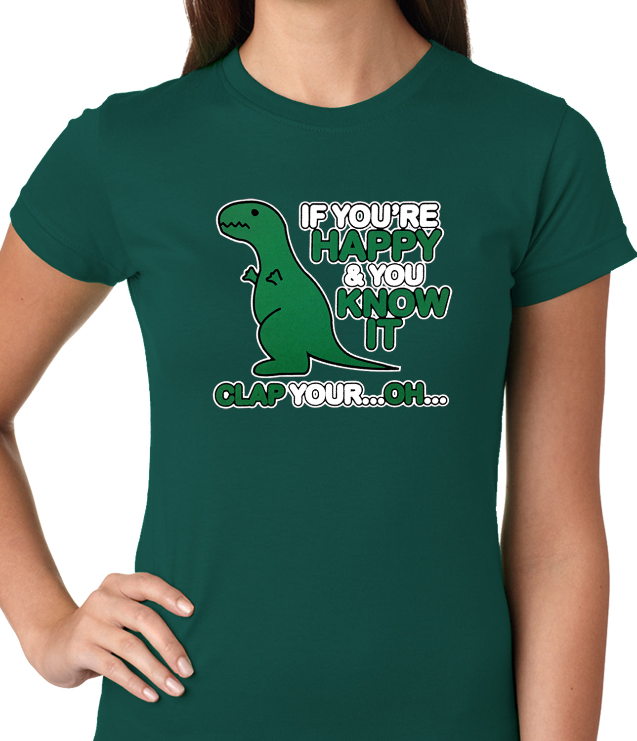 If You're Happy & You Know it Clap Your OH T-Rex Ladies T-shirt