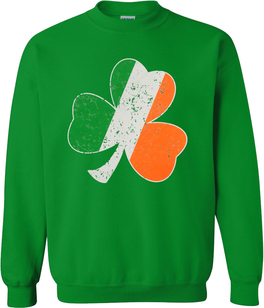 Irish Colors Vintage Distressed Shamrock Crew Neck (Kelly Green)