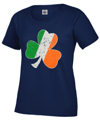 Irish Colors Vintage Distressed Shamrock Girl's T-Shirt