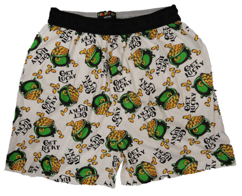 "Irish ""Get Lucky"" Pot Of Gold Boxer Shorts White"