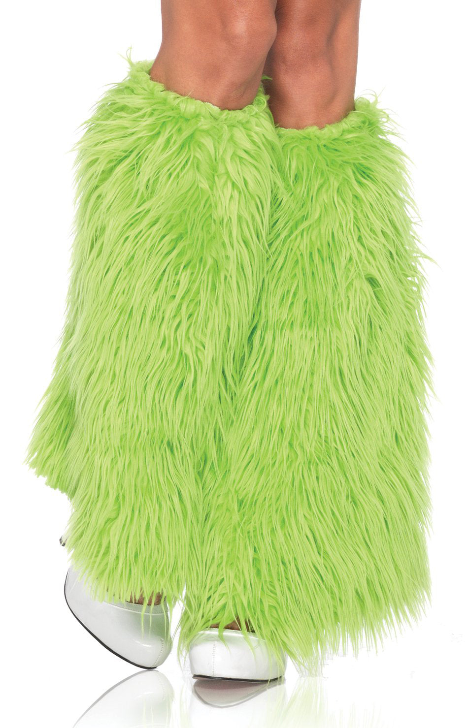 Irish Green Furry Leg Warmers