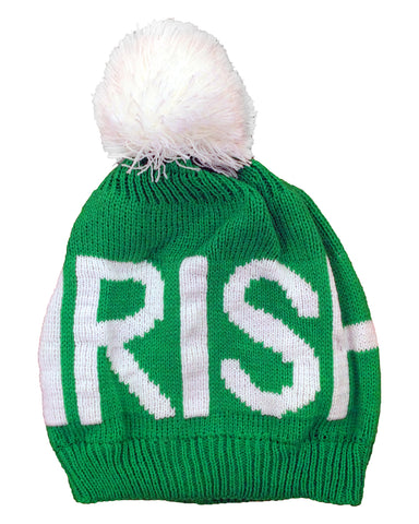Irish Pom Pom Beanie (Green/White)