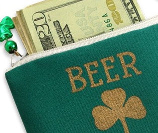 Irish Shamrock Beer Money Cash & ID Purse