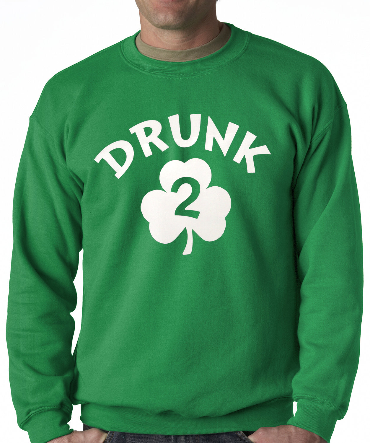 Irish Shamrock Drunk Crewneck Sweatshirt (Kelly Green)