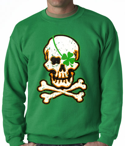 Irish Shamrock Skull and Crossbones Crewneck