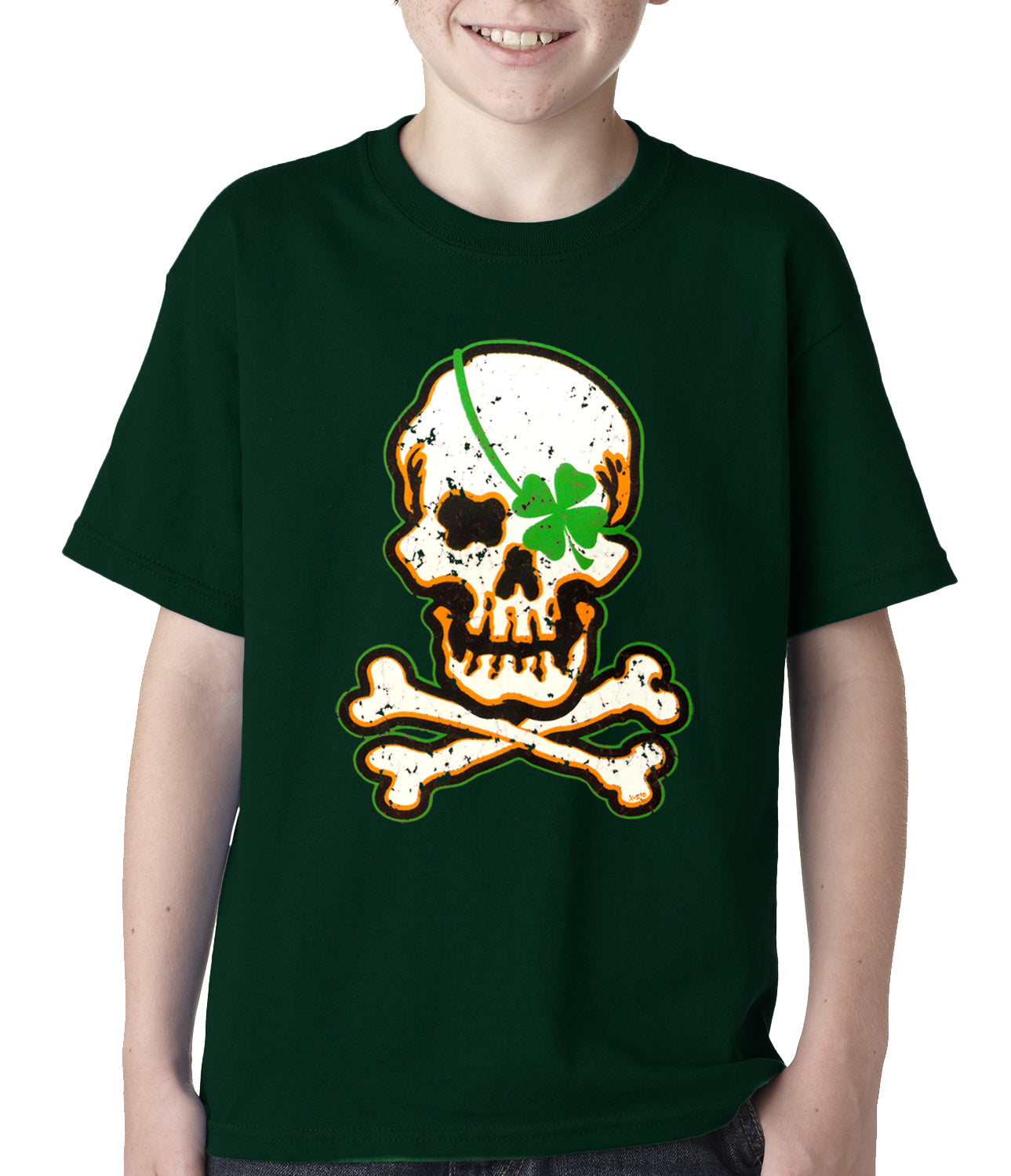 Irish Shamrock Skull and Crossbones Kids T-shirt