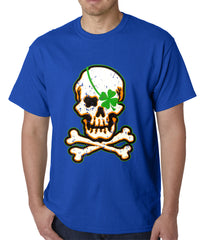 Irish Shamrock Skull and Crossbones Mens T-shirt