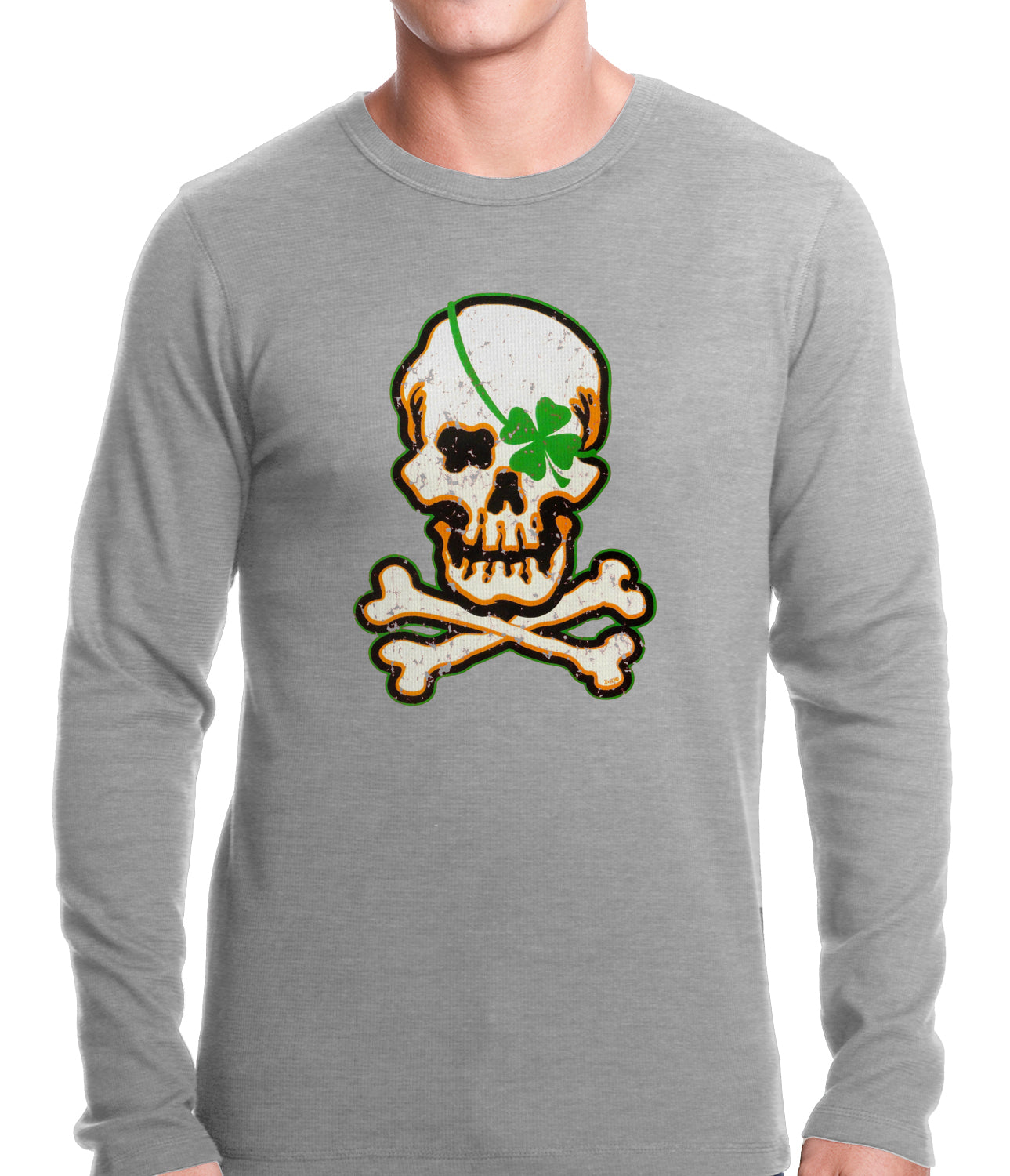 Irish Shamrock Skull and Crossbones Thermal Shirt