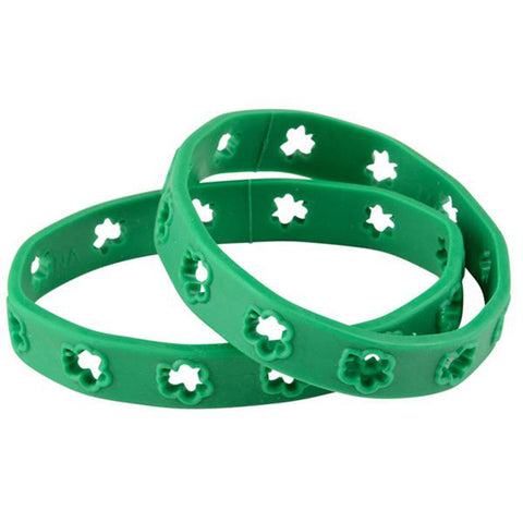 Irish St. Patrick's Day Cut Out Shamrock Rubber Bracelet (24 Pack)