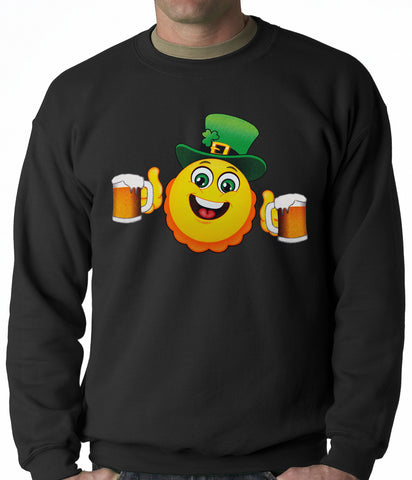 Irish St. Patrick's Day Drinking Leprechaun Emoji Adult Crewneck