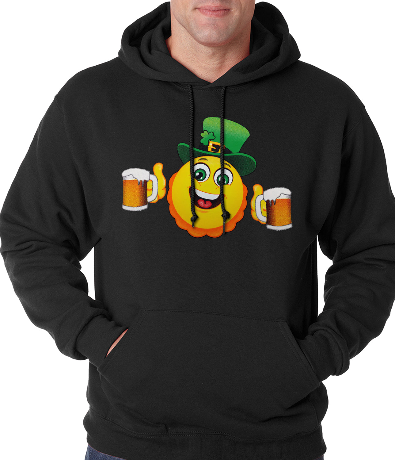 Irish St. Patrick's Day Drinking Leprechaun Emoji Adult Hoodie