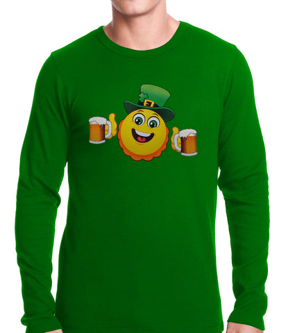 Irish St. Patrick's Day Drinking Leprechaun Emoji Thermal Shirt