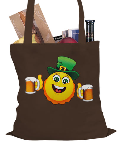 Irish St. Patrick's Day Drinking Leprechaun Emoji Tote Bag